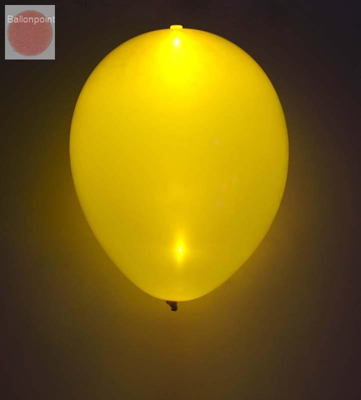 LED-Ballons-1202009 LED-Ballonset mit 5 Ballone Farbe GELB inkl. integrierte LED Lampe, unbedruckte Ballons