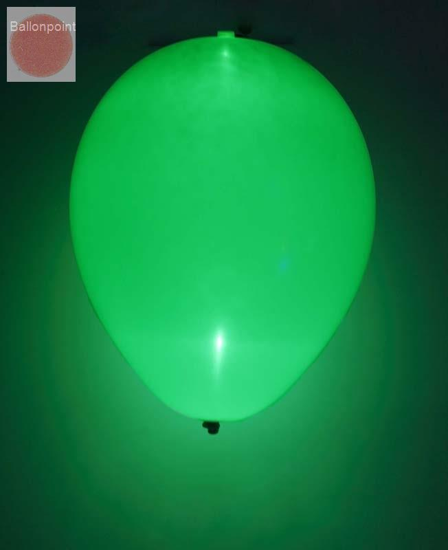 LED-Ballons-1202010  Ballonfarbe GRÜN - LED-Ballonset mit 5 Ballone inkl. integrierte LED Lampe, unbedruckte Ballons