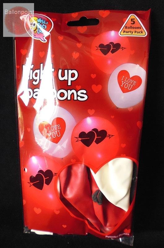 LED-Ballons-1401029 LED-Ballonset - I Love You - Farbe WEISS + ROT inkl. integrierte LED Lampe Pkg. zu 5 Stück