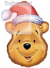 FOBF091-0022960F Metallic Folienballon, Pooh Santa II Weihnachtsballon 64x91cm (25x36inch) unverpackt lose