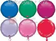 """FOBR045-E Uni-Folienballon Ballonfarbe nach Auswahl, Form Rund Ø 45cm (18"""") unaufgeblasen"""
