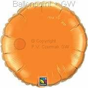 "FOBR045-002BA Uni-Folienballon Ballonfarbe Orange, Form Rund Ø 45cm (18"") unaufgeblasen"