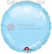 "FOBR045-005BA Uni-Folienballon Ballonfarbe Hellblau, Form Rund Ø 45cm (18"") unaufgeblasen"