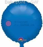 "FOBR045-006BA Uni-Folienballon Ballonfarbe Blau, Form Rund Ø 45cm (18"") unaufgeblasen"