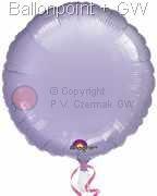 "FOBR045-024BA Uni-Folienballon Ballonfarbe Pastel Lila, Form Rund Ø 45cm (18"") unaufgeblasen"