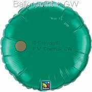 "FOBR045-042BA Uni-Folienballon Ballonfarbe Smaragd Grün, Form Rund Ø 45cm (18"") unaufgeblasen"