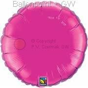 "FOBR045-049BA Uni-Folienballon Ballonfarbe Magenta, Form Rund Ø 45cm (18"") unaufgeblasen"