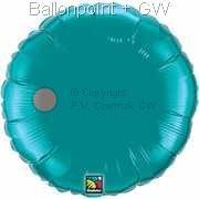 "FOBR045-050BA Uni-Folienballon Ballonfarbe Teal, Form Rund Ø 45cm (18"") unaufgeblasen"