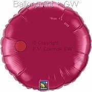 """FOBR045-061BA Uni-Folienballon Ballonfarbe Burgund, Form Rund Ø 45cm (18"""") unaufgeblasen"""