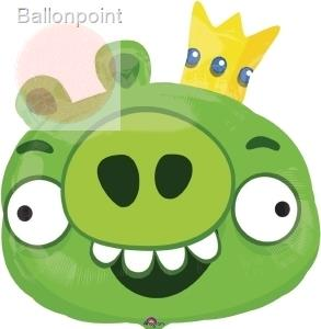 "FOBF068-0156443F Angry Birds ""Schwein"" II Super Shape XL metallic Folienballon Green Big"