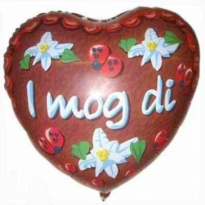 (#) I mog Di 21,  Non Metallic Herz-Folienballon 45cm, aufgeblasen breite 21cm  F240