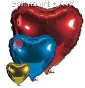 """FOHE90-00 Folien-Herz Ballonfarbe nach Wahl  Ø90cm (36""""), ohne Aufdruck unverpackt"""