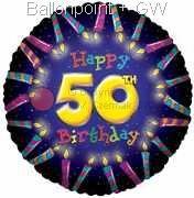 "FOBM045-5013E Folienballon Rund 45cm  (18"")  Happy 50th Birthday"