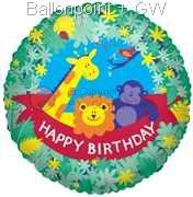 "FOBM045-5050E Folienballon Rund 45cm  (18"") Text: Happy Birthday"