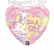 "FOHM045-0857BA  Folienherzballoon Rund 45cm  (18"") It's a Girl,  price per ea"