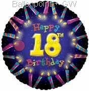"FOBM045-5075E 18ter Birthday-Candle Folienballon Ø45cm (Ø18"")"