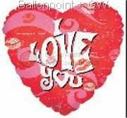 "FOBH045-5001E Folienballon Herz 45cm  (18"") Text: I LOVE YOU Motiv: Kisses"