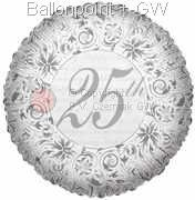 FOBM045-60563E  Ø 45cm Motiv 25th Anniversary mit Text: 25th
