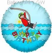 "FOBM045-665501E Pirat - Play Mobil, Happy Birthday Folienballon Rund 45cm  (18"")  Ballon mit Faden"