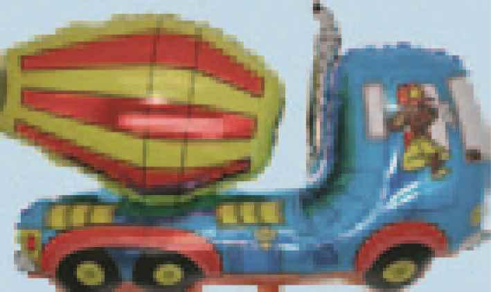 """FOBF095-064151F  Betonmischer in Blau Folienballon (37""""), Artikel Kategorie E F090"""