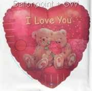 "FOBH045-06833E Folienballon Herz 45cm  (18"") Text: I love you"