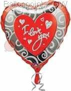 FOHM045-07564E Love Herz-Folienballon with - I love You - Ø45cm, price per ea