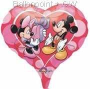 "FOHM045-08119E Mickey & Minnie Herz-Folienballon, Ballongröße Ø45cm(18"")"