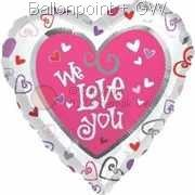 FOHM045-08403E Love Herz-Folienballon with - We love You - Ø45cm, price per ea