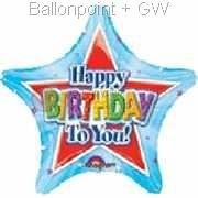 "FOSM045-09856 Happy Birthday to you - Stern Folienballon 45cm  (18"")  Ballon mit Faden"