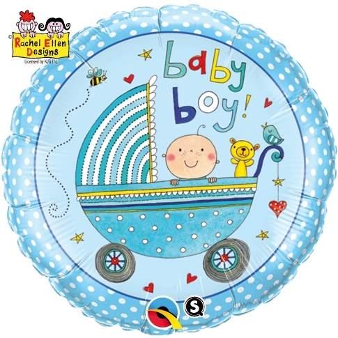 """FOBM045-0451152 Folienballon Rund 45cm  (18"""") Geburt Baby Boy ohne Zubehör"""