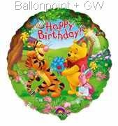 "FOBM045-045876 Folienballon Rund 45cm  (18"") Pooh Birthday Text: Happy Birthday"
