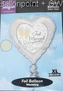 "FOBH045-11055E Folienballon Herz 45cm  (18"") Text: Just Married"