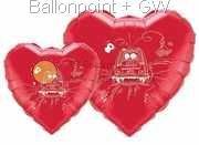 """FOBM045-3045597A Rot Motivherzballon 45cm(18"""") mit Aufdruck Just Married und Auto,"""