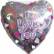 "FOBH045-13506E Folienballon Herz 45cm  (18"") bunt Text: I LOVE YOU"