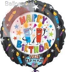 "FOBM072-1421201PL 72cm(28"") Rund Happy Birthday Kerzen Sing-A-Tune Ballon"