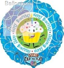 "FOBM072 72cm(28"") Rund Happy Birthday Cupcake Sing-A-Tune Ballon"