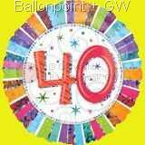 FOBM045-16070F Folienballon Happy Birthday ohne Text nur Zahl 40