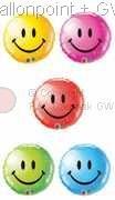 """FOBM045-MQ  Smiley Face Farbe nach Auswahl Folienballon Ballongröße Ø45cm (18"""")"""