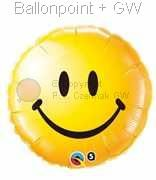 FOBM045-1088Q  Smiley Face gelb Folienballon Ballongröße Ø45cm (18