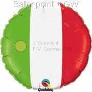 """FOBM045-1035Q  Nationalfarbenballon Italien Folienballon Ballongröße Ø45cm (18"""")"""