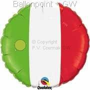 "FOBM045-1035Q  Italien Flag Foil balloon Ballongröße Ø45cm (18"")"