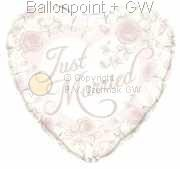 """FOBM045-30451078BA Weiß Motivherzballon 45cm(18"""") mit Aufdruck Just Married und Rosen, SB-verpackt"""