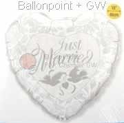"""FOBM045-3045338BA Motivherzballon 45cm(18"""") mit Aufdruck Just Married und Tauben, SB-verpackt"""