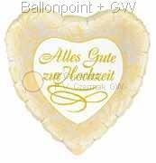 """FOHM045-3045751BA Gold/Weiß Motivherzballon 45cm(18"""") mit Aufdruck - Alles Gute zur Hochzeit- ud Rosen"""