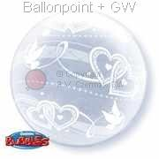 B051-Bubbles DECO transparent, Strechy Plastic Balloon, Joint Hearts, price per ea