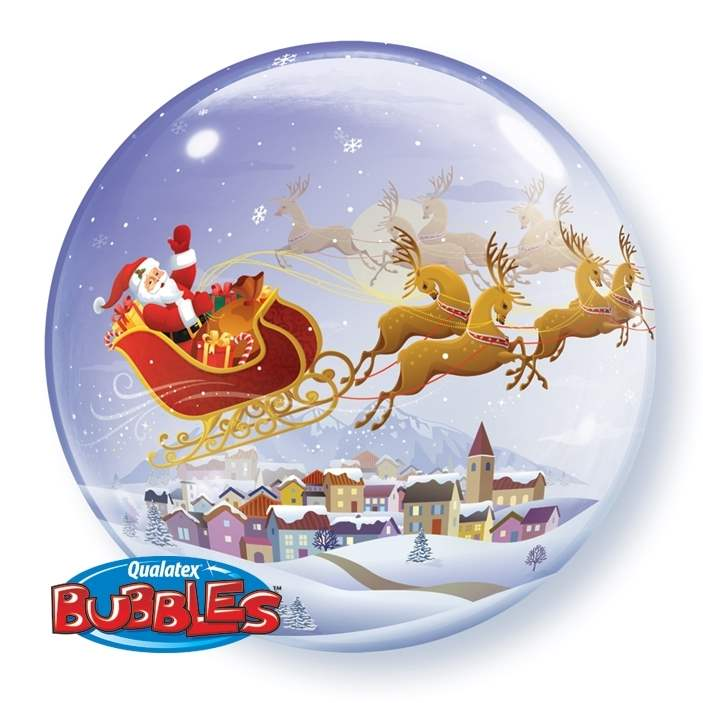 Bubbles Santa Ø56cm A Visit from St. Nicholas Bubbles Folien Ballon Motiv Weihnachtsmann im Schlitten, Heliumtauglich, ungefüllt Art.Kat. F313