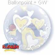 B061-489 Double-Bubbles Wihte & Ivory, Strechy Plastic Balloon, Floating H, price per ea
