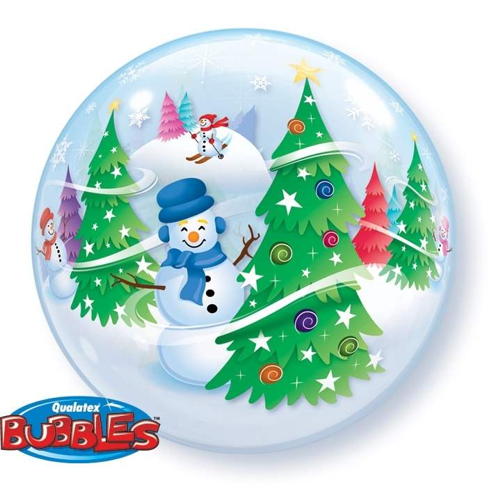 Bubbles Snow with Snow man Plastic Balloon, price per ea, Bubbles, Floating Ballon