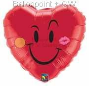 """FOHM045-14045343BA red Motiv heart balloon 45cm(18"""") Naughty Smile and a Kiss, price per piece"""