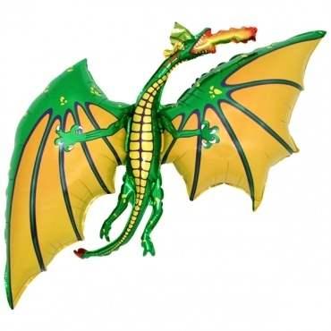 (#) Drache grün II,  Figuren-Folienballon, Form E  ArtKat  F311